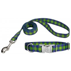 Blue and Green Plaid Premium Dog Collar & Leash