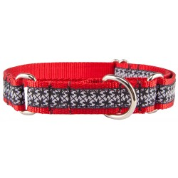 Black and White Pinwheels Woven Ribbon on Red Martingale Dog Collar Limited Edition