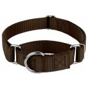 Brown Martingale Heavyduty Nylon Dog Collar