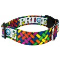 1 1/2 Inch Deluxe Pride and Peace Dog Collar - Third Angle