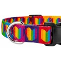 Deluxe Rainbow Hearts Dog Collar - Closeup View
