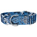 1 1/2 Inch Blue Paisley Martingale Dog Collar