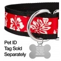 1 1/2 Inch Red Hawaiian Exclusive Martingale Dog Collar - Closeup