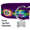 1 1/2 Inch Tie Dye Flowers Exclusive Martingale Dog Collar - Closeup