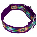 1 1/2 Inch Tie Dye Flowers Exclusive Martingale Dog Collar - Third Angle