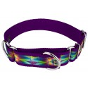 1 1/2 Inch Tie Dye Flowers Exclusive Martingale Dog Collar