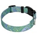 Deluxe Green Paisley Reflective Dog Collar - Third Angle