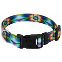 Deluxe Tie Dye Flowers Reflective Dog Collar