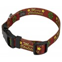 Merry Christmas Deluxe Dog Collar & Leash - Secondary Angle