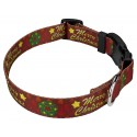 Merry Christmas Deluxe Dog Collar & Leash - Third Angle