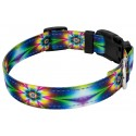 Deluxe Tie Dye Flowers Reflective Dog Collar & Leash - Third Angle