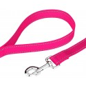 Deluxe Hot Pink Reflective Nylon Dog Collar & Leash - Leash Deluxe Hot Pink Reflective Nylon Dog Collar & Leash View
