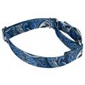 Blue Paisley Martingale Dog Collar & Leash - Third Angle