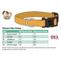 Deluxe Woodland Camo Reflective Dog Collar - Sizing Chart