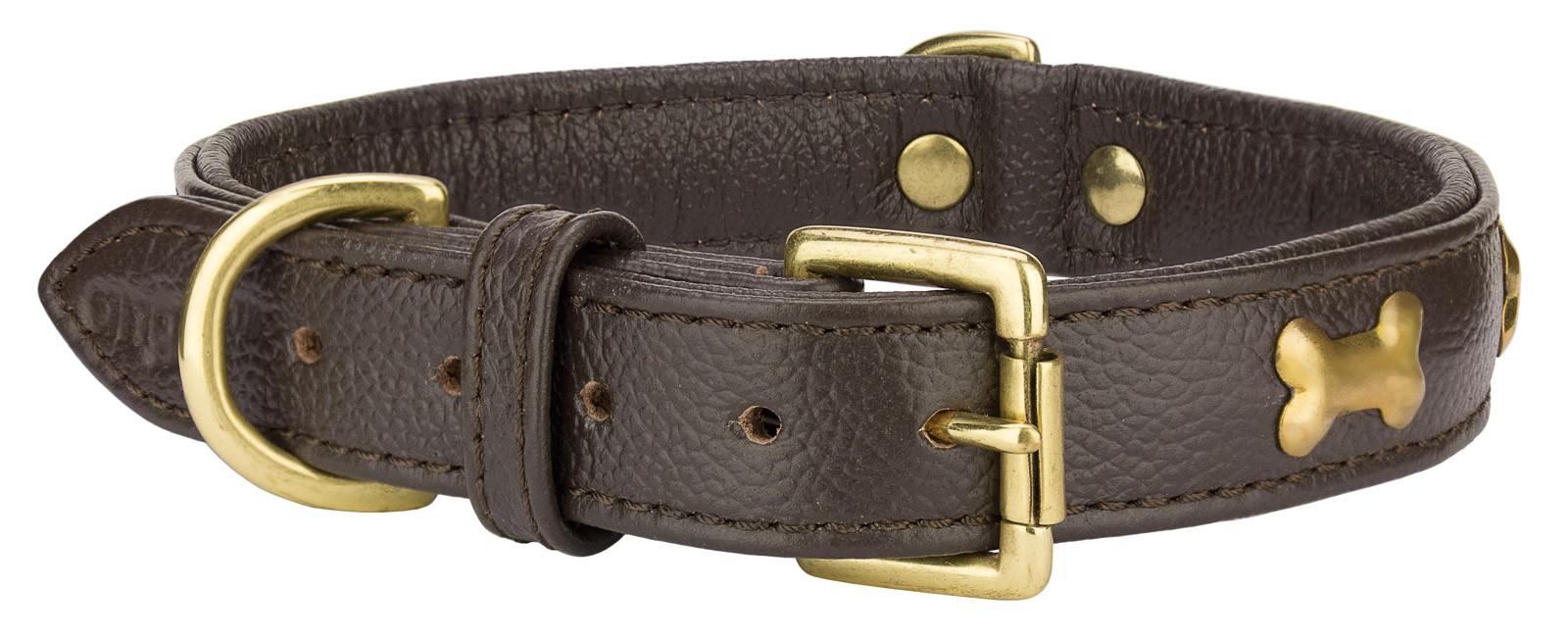 Angel™ Rotterdam Bones Chocolate Brown Leather Dog Collar