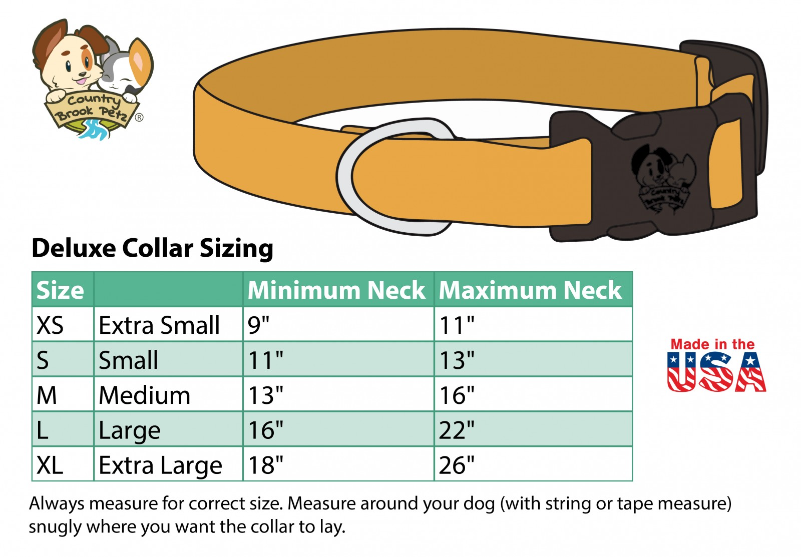 Deluxe Red Reflective Nylon Dog Collar Leash Sizing Chart