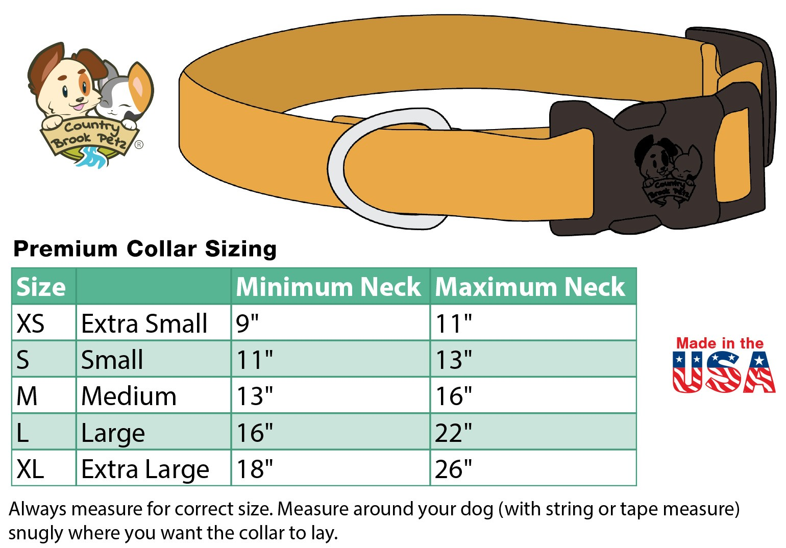 Collar In Use View Size Chart