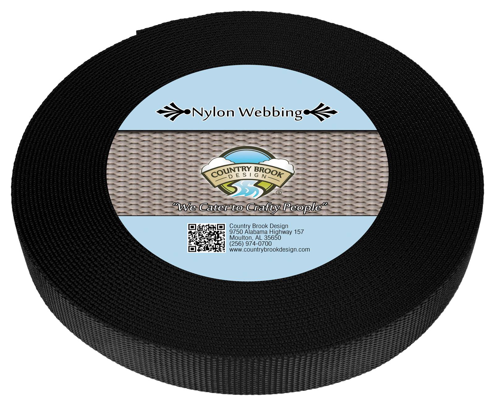 Country Brook Design® 1 1//4 Inch Black Medium Weight Nylon Webbing 50 Yards