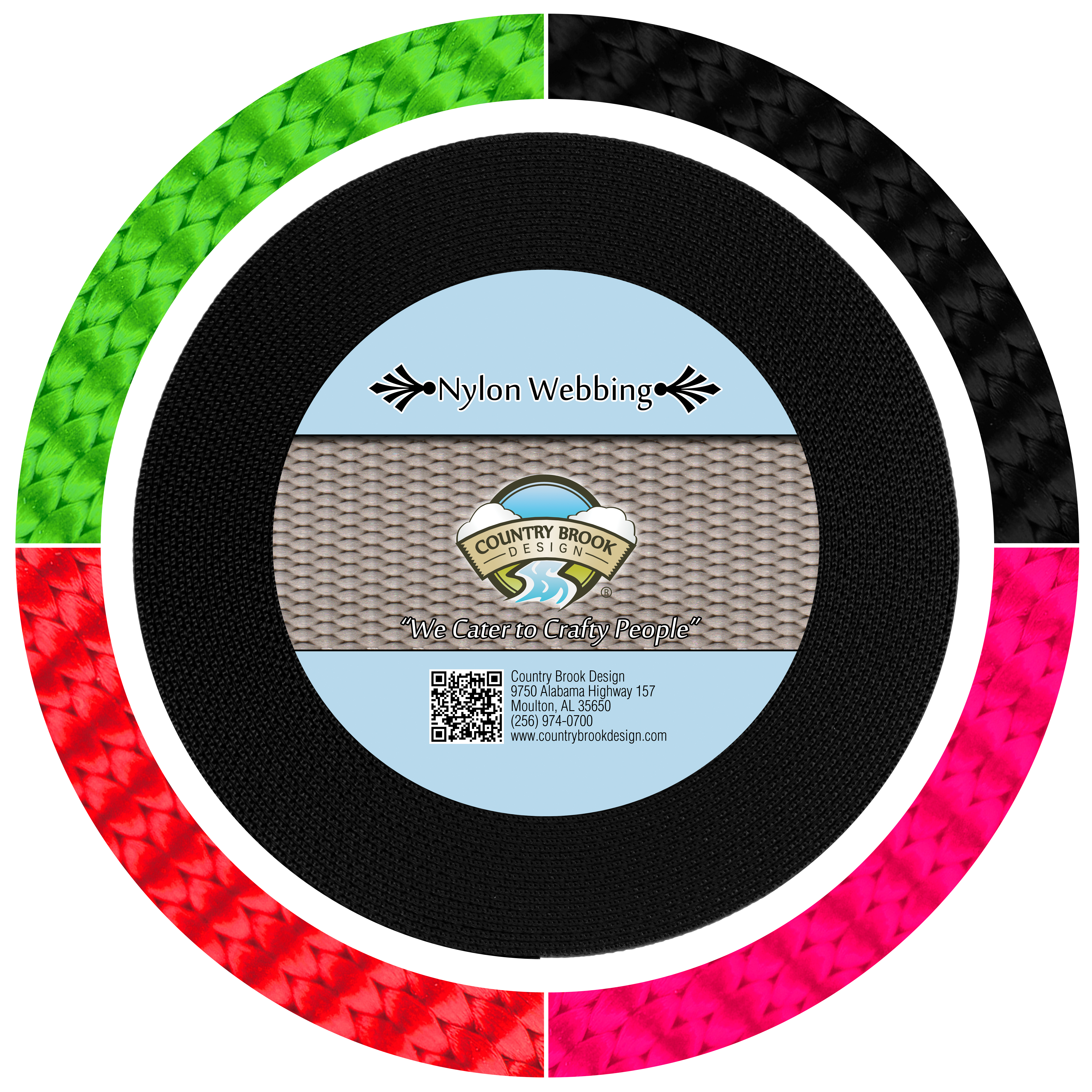 5 Yards Country Brook Design® 1 Inch Black Reflective Nylon Webbing
